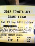 2012 AFL Grand Final - the ticket
