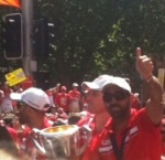 Parade Day V - Jarrad McVeigh, John Longmire & Adam Goodes with the 2012 AFL Premiership Cup
