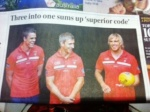 The Australian - Three Into One Sums Up Superior Code